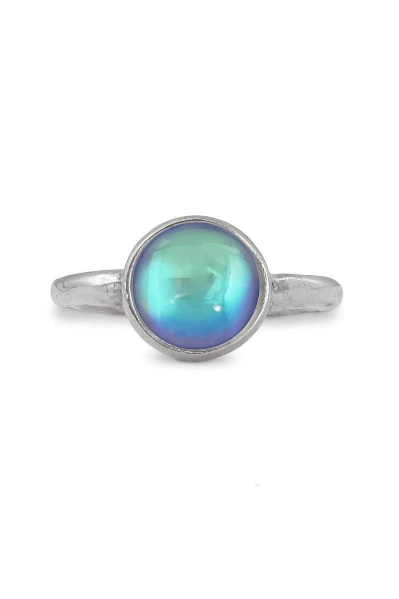 Handmade Sterling Silver-Classic Ring - Size 8-Aqua-Polished-Leightworks