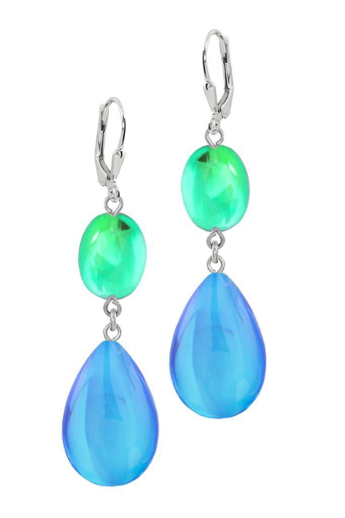 Sterling Silver-Double Drop Earrings-Blue/Fire-Polished-Leightworks