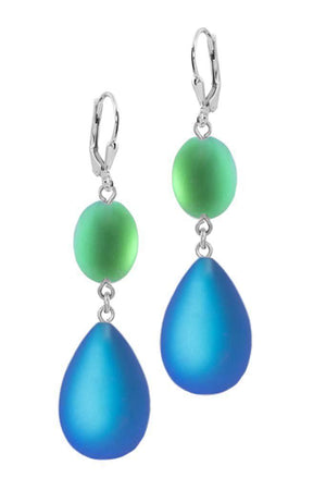 Sterling Silver-Double Drop Earrings-Blue/Green-Frosted-Leightworks