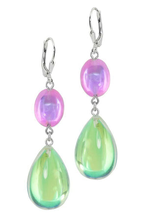 Sterling Silver-Double Drop Earrings-Green/Pink-Polished-Leightworks