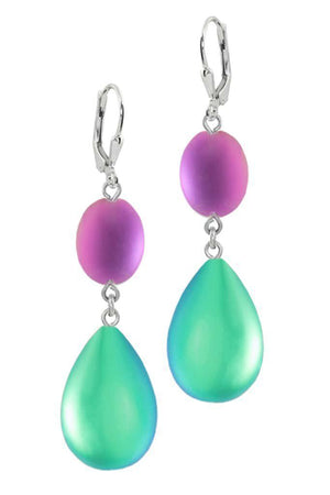 Sterling Silver-Double Drop Earrings-Green/Pink-Frosted-Leightworks