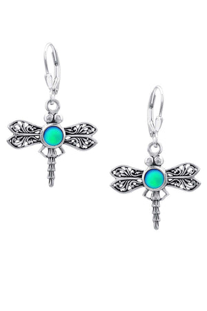 Sterling Silver-Dragonfly Earrings-frosted-green-Leightworks