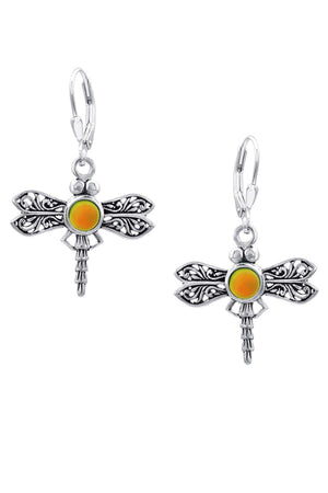 Sterling Silver-Dragonfly Earrings-frosted-fire-Leightworks