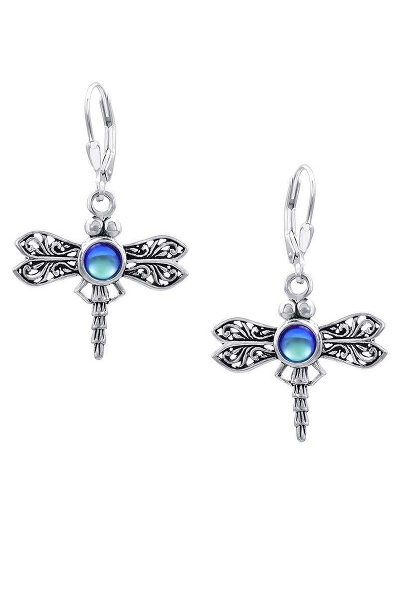 Sterling Silver-Dragonfly Earrings-frosted-blue-Leightworks