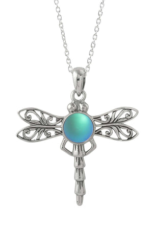 Sterling Silver-Dragonfly Pendant-Necklace Charm-Aqua-Frosted-Leightworks