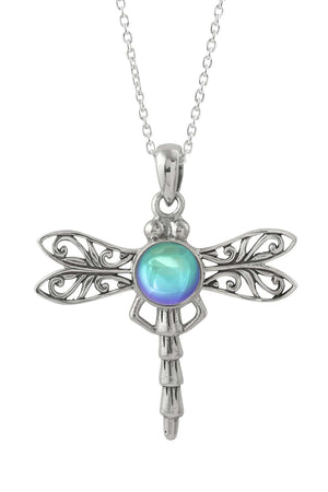 Sterling Silver-Dragonfly Pendant-Necklace Charm-Aqua-Polished-Leightworks