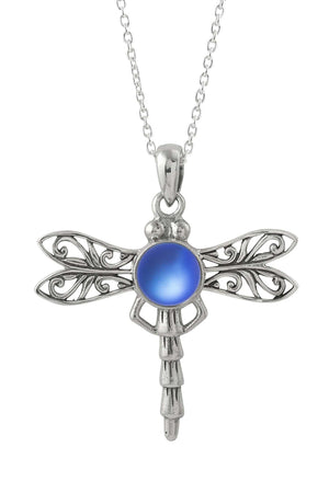 Sterling Silver-Dragonfly Pendant-Necklace Charm-Blue-Frosted-Leightworks