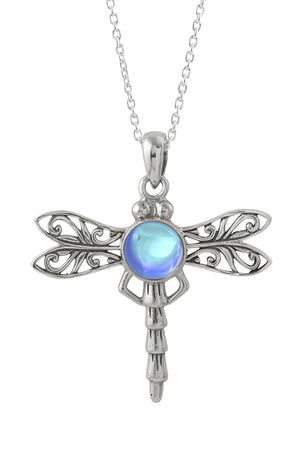 Sterling Silver-Dragonfly Pendant-Necklace Charm-Blue-Polished-Leightworks