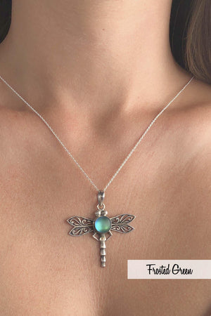 Sterling Silver-Dragonfly Pendant-Necklace Charm-Leightworks