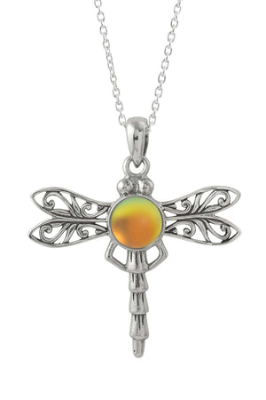 Sterling Silver-Dragonfly Pendant-Necklace Charm-Fire-Frosted-Leightworks