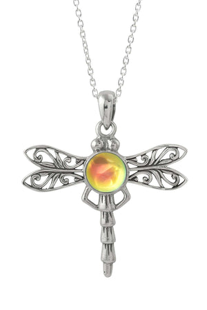 Sterling Silver-Dragonfly Pendant-Necklace Charm-Fire-Polished-Leightworks