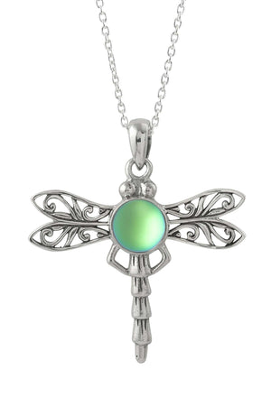 Sterling Silver-Dragonfly Pendant-Necklace Charm-Green-Frosted-Leightworks