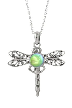 Sterling Silver-Dragonfly Pendant-Necklace Charm-Green-Polished-Leightworks