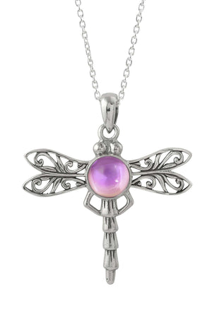 Sterling Silver-Dragonfly Pendant-Necklace Charm-Pink-Polished-Leightworks
