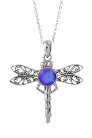 Sterling Silver-Dragonfly Pendant-Necklace Charm-Violet-Polished-Leightworks