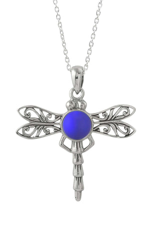 Sterling Silver-Dragonfly Pendant-Necklace Charm-Violet-Frosted-Leightworks
