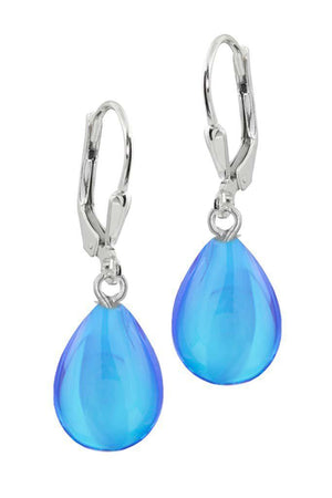 Sterling Silver-Drop Earrings-Blue-Polished-Leightworks