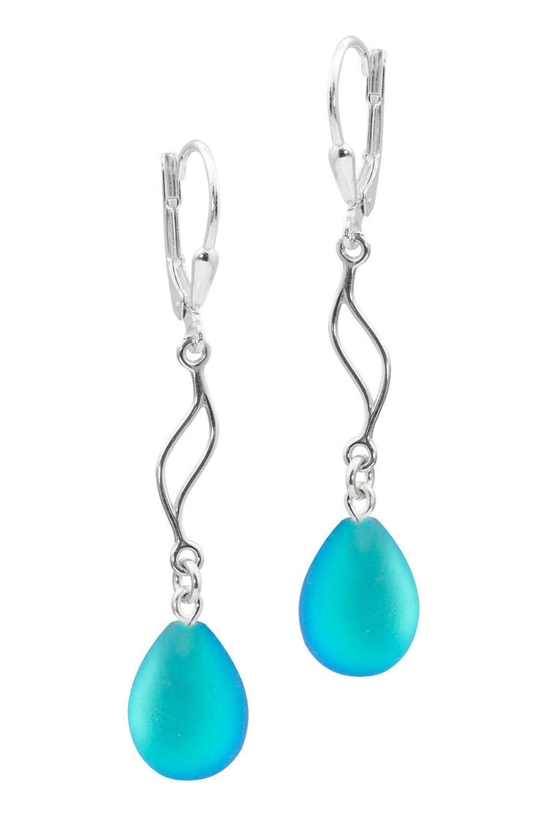 Sterling Silver-Feather Ext. Earrings-Aqua-Frosted-Nature-Leightworks