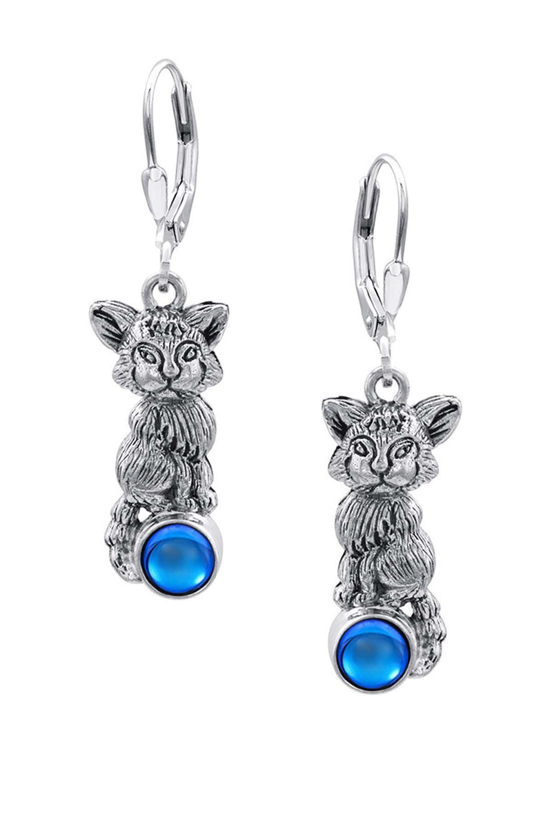 Sterling Silver-Fox Earrings-blue-frosted-Leightworks