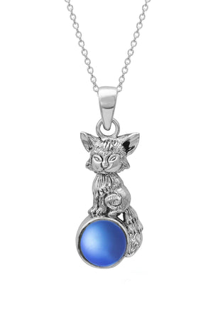 Sterling Silver-Fox Pendant-Necklace Charm-Blue-Frosted-Leightworks