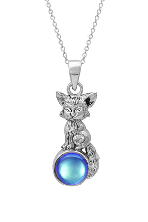 Sterling Silver-Fox Pendant-Necklace Charm-Blue-Polished-Leightworks