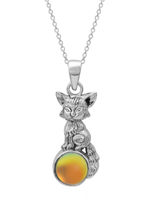 Sterling Silver-Fox Pendant-Necklace Charm-Fire-Frosted-Leightworks