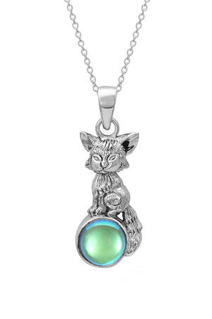 Sterling Silver-Fox Pendant-Necklace Charm-Green-Polished-Leightworks