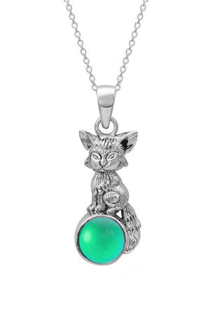 Sterling Silver-Fox Pendant-Necklace Charm-Green-Frosted-Leightworks