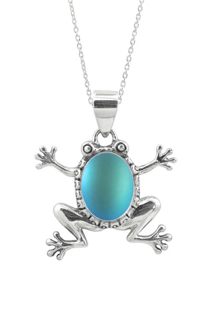 Sterling Silver-Frog Pendant-Necklace Charm-Aqua-Frosted-Leightworks