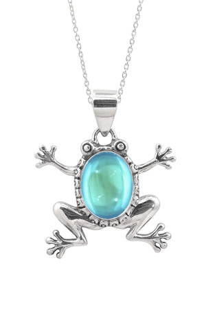 Sterling Silver-Frog Pendant-Necklace Charm-Aqua-Polished-Leightworks