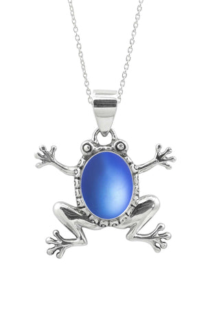 Sterling Silver-Frog Pendant-Necklace Charm-Blue-Frosted-Leightworks