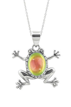 Sterling Silver-Frog Pendant-Necklace Charm-Fire-Polished-Leightworks