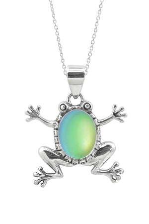 Sterling Silver-Frog Pendant-Necklace Charm-Green-Frosted-Leightworks