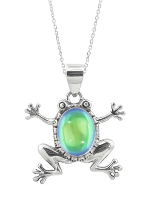 Sterling Silver-Frog Pendant-Necklace Charm-Green-Polished-Leightworks