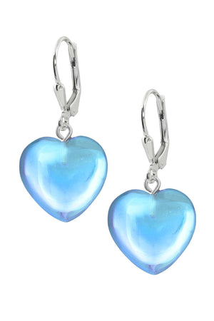 Sterling Silver-Heart Earrings-Aqua-Polished-Leightworks
