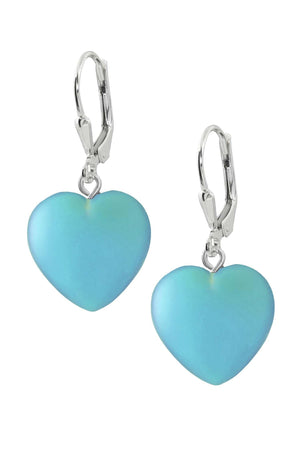 Sterling Silver-Heart Earrings-Aqua-Frosted-Leightworks