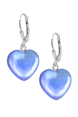 Sterling Silver-Heart Earrings-Blue-Polished-Leightworks