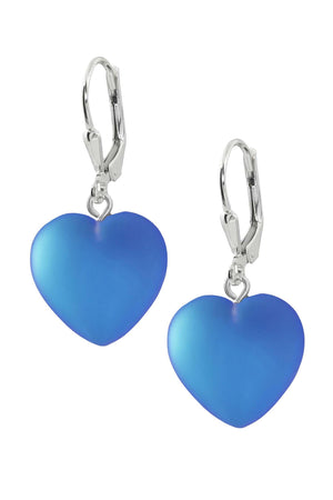 Sterling Silver-Heart Earrings-Blue-Frosted-Leightworks