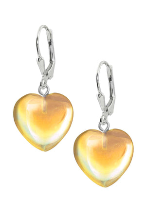 Sterling Silver-Heart Earrings-Fire-Polished-Leightworks