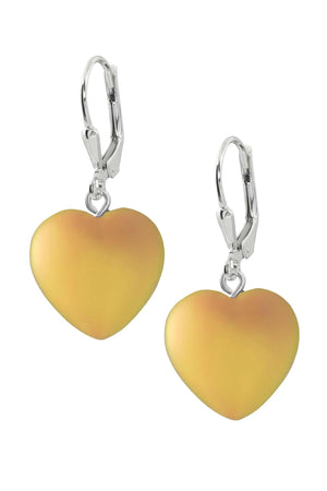 Sterling Silver-Heart Earrings-Fire-Frosted-Leightworks