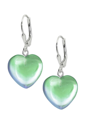 Sterling Silver-Heart Earrings-Green-Polished-Leightworks