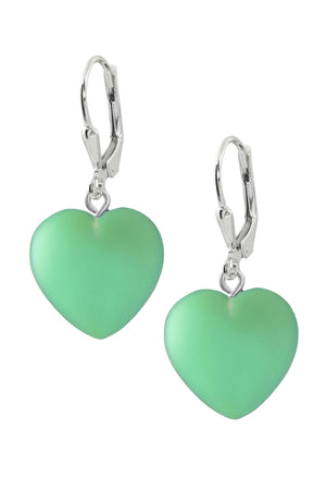 Sterling Silver-Heart Earrings-Green-Frosted-Leightworks
