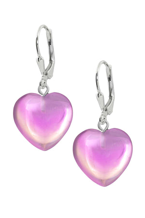 Sterling Silver-Heart Earrings-Pink-Polished-Leightworks