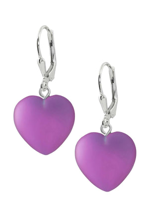 Sterling Silver-Heart Earrings-Pink-Frosted-Leightworks