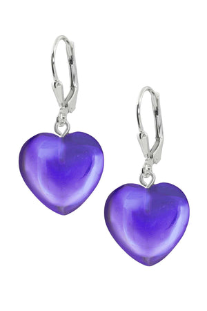 Sterling Silver-Heart Earrings-Violet-Polished-Leightworks