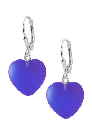 Sterling Silver-Heart Earrings-Violet-Frosted-Leightworks