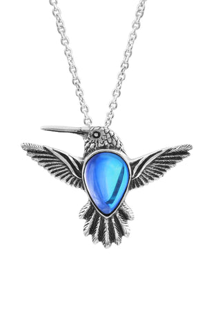 Sterling Silver-Hummingbird Pendant-Necklace Charm-Blue-Polished-Leightworks