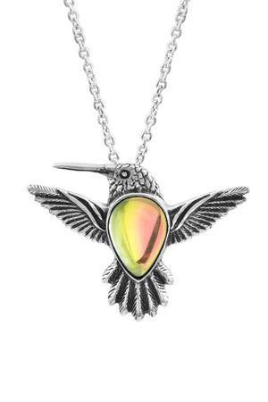 Sterling Silver-Hummingbird Pendant-Necklace Charm-Fire-Polished-Leightworks