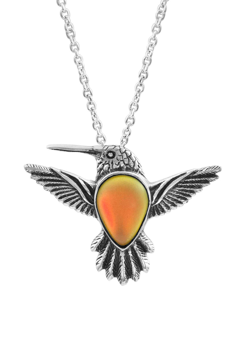 Sterling Silver-Hummingbird Pendant-Necklace Charm-Fire-Frosted-Leightworks