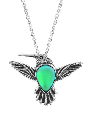 Sterling Silver-Hummingbird Pendant-Necklace Charm-Green-Frosted-Leightworks